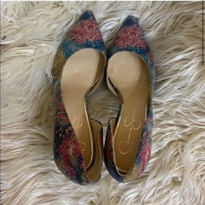 🌺New WOT Jessica Simpson Blue Floral heels size 9